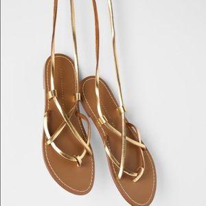 ZARA Flat Sandals With Golden Criss Cross Straps